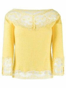 Ermanno Scervino lace panelled knitted top - Yellow