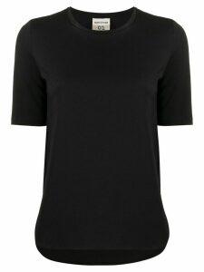 Semicouture Pansy logo print T-shirt - Black
