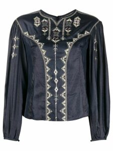 Isabel Marant Étoile embroidered long sleeved top - Blue
