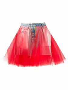 UNRAVEL PROJECT tulle insert denim skirt - Red
