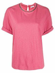 Brunello Cucinelli round neck contrast trim T-shirt - PINK
