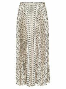 Valentino logo pattern pleated midi skirt - White