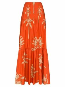 Johanna Ortiz Powerful Rhythm feather-print cotton maxi skirt - Red