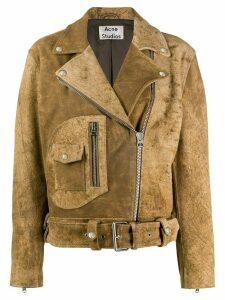 Acne Studios cropped zipped biker jacket - NEUTRALS