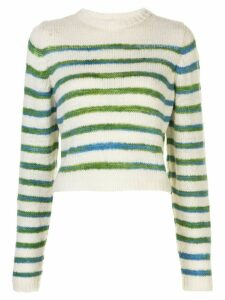 The Elder Statesman stripe print jumper - White