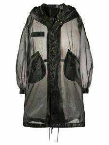 Mr & Mrs Italy boxy fit transparent parka coat - Black