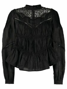 Isabel Marant jour échelle-trimmed gathered blouse - Black