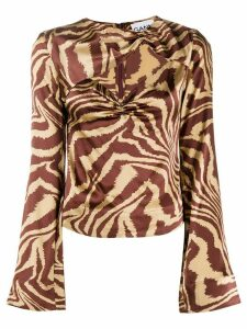 GANNI animal print cut-out detail blouse - Brown