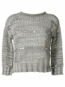 Lorena Antoniazzi sequin stripe jumper - Grey