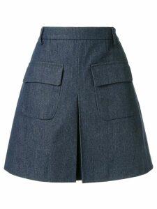 Edward Achour Paris front pleat skirt - Blue