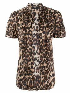 Steffen Schraut leopard pattern pleated blouse - Brown