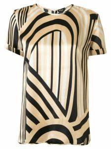 Kiton striped loose-fit silk blouse - Brown