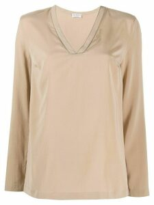 Brunello Cucinelli embellished V-neck top - NEUTRALS