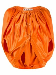 Marni cropped buttoned voluminous blouse - ORANGE