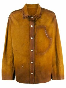 Golden Goose faded leather overshirt - Brown