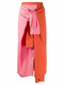 Marni deconstructed colour-block skirt - PINK