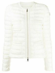 Moncler collarless padded jacket - White