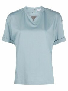 Brunello Cucinelli bead-embellished T-shirt - Blue