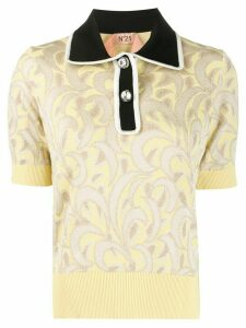 Nº21 jacquard knitted polo top - NEUTRALS