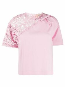 Nº21 crochet panel T-shirt - PINK