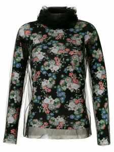 Gloria Coelho tulle panels printed blouse - Black