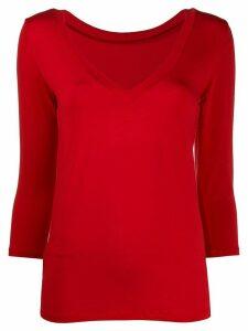Majestic Filatures fine knit v-neck sweatshirt - Red