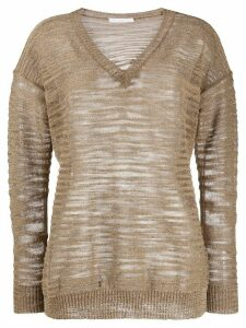 Fabiana Filippi sheer v-neck jumper - Brown