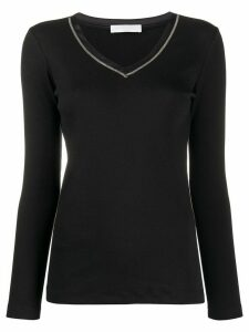 Fabiana Filippi fine knit v-neck sweatshirt - Black