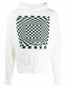 AMBUSH two-tone graphic-print hoodie - White