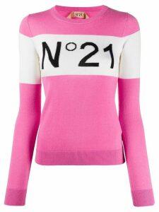 Nº21 logo ribbed crew neck jumper - PINK