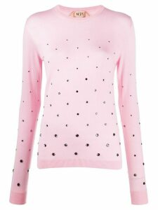 Nº21 crystal-embellished jumper - PINK