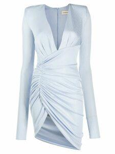 Alexandre Vauthier plunge-neck ruched mini dress - Blue
