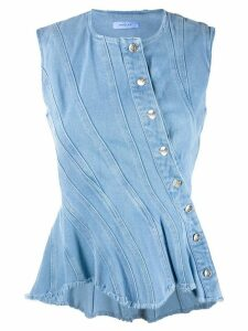 Mugler denim peplum blouse - Blue