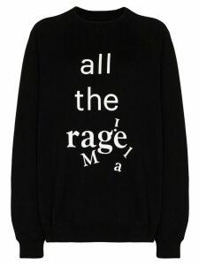 Maison Margiela oversized slogan-print cotton sweatshirt - Black