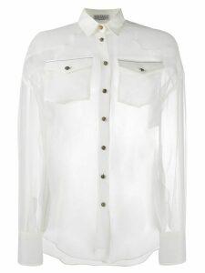 Brunello Cucinelli sheer silk shirt - White