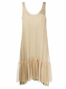 Simonetta Ravizza mesh-layered floral-print dress - NEUTRALS