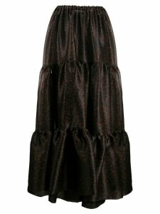 Simonetta Ravizza animal-print tiered maxi skirt - Brown