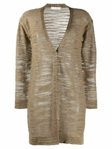 Fabiana Filippi fine knit long cardigan - Brown
