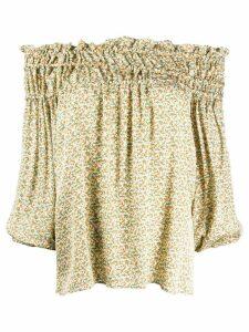 Simonetta Ravizza silk off-shoulder flared blouse - Yellow