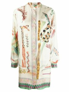 Etro collarless longline shirt - NEUTRALS
