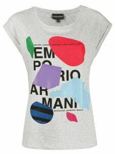 Emporio Armani rhinestone-embellished logo T-shirt - Grey