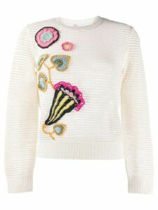 RedValentino floral embroidered open knit jumper - NEUTRALS