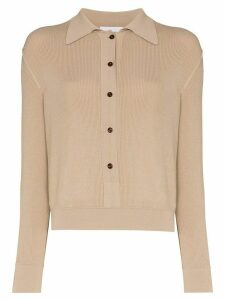 EFTYCHIA button-up polo top - NEUTRALS