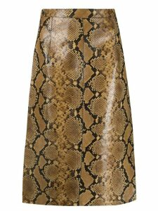 Nº21 snakeskin printed leather skirt - NEUTRALS