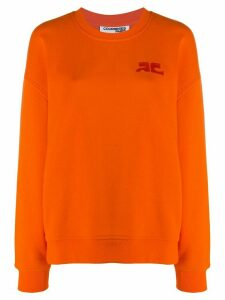 Courrèges logo-embroidered sweatshirt - ORANGE