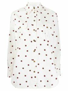 GANNI polka dot poplin shirt - White