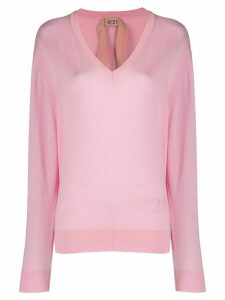Nº21 logo detail thin-knit jumper - PINK