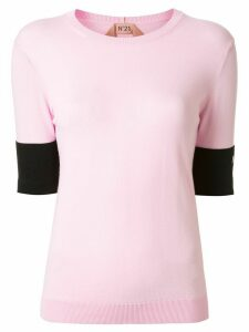 N°21 contrast cuffs knitted top - PINK