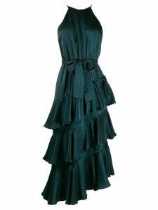 Zimmermann halter neck layered silk dress - Green