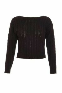 Black Cable Knit Crop Jumper
